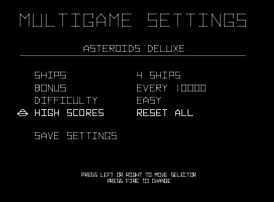 Braze Asteroids Deluxe Multigame Installation Instructions
